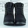 Ботинки женские черные зимние на густом меху эко нубук b-472, фото 4