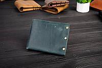 Мужской кожаный кошелек Гранж темно-зеленый с дефектом, фото 1