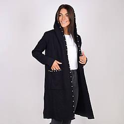 Женский кардиган с капюшоном с карманами до середины колена в черном, сером, бежевом и джинсовом цвете