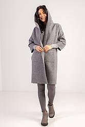 Стильный кардиган с карманами и капюшоном длиною по колено в сером цвете в размере S/Mи  L/LX