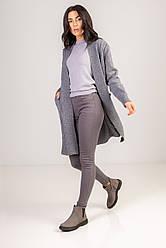 Уютный кардиган под вязку косичку с карманами длиною по колено в 5 микс  цветах в размере S/Mи  L/LX