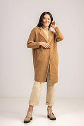 Уютный шерстяной кардиган под вязку с карманами длиною по колено в 3 микс  цветах в размере S/Mи  L/LX