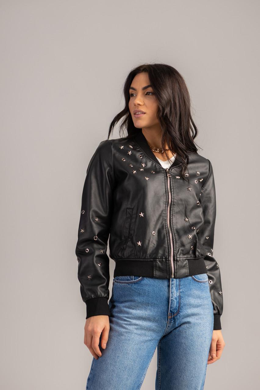 Ультра модная короткая куртка-бомбер в черном цвете в 4 размерах: S, M, L, XL.