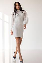 Нарядное приталенное платье с шифоновым рукавом в 2 цветах в универсальном размере на 40-46