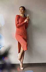 Трикотажное нарядное платье-миди с разрезом сбоку в 6 цветах в размере S/M  и M/L