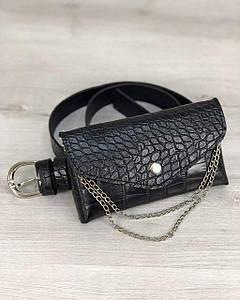 Жіноча сумка на пояс Айлін чорний крокодил