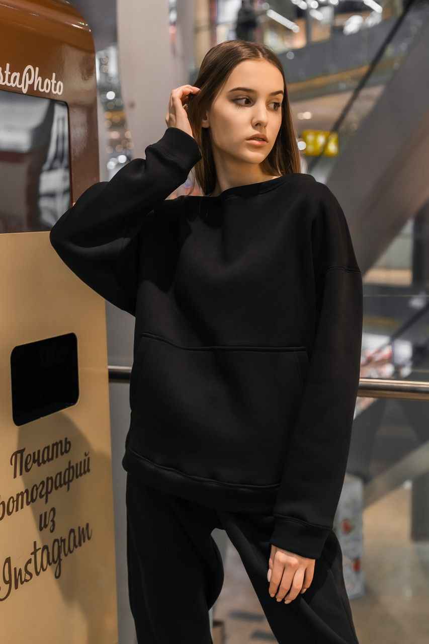 Свитшот Женский теплый зимний демисезонный Intruder Brand Basic черный на флисе кофта толстовка Oversize