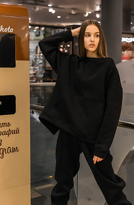 Свитшот Женский теплый зимний демисезонный Intruder Brand Basic черный на флисе кофта толстовка Oversize, фото 3