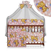 Постельный комплект Малютка 6 предметов - ткань поликоттон - Спящий медведь - цвет розовый ТМ Алекс