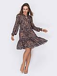 Шифонова сукня-міні з довгим рукавом, фото 7