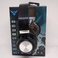 Беспроводные накладные Bluetooth Наушники J59SS FM радио Чёрные с серым