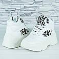 Кроссовки женские белые эко кожа демисезонные  принт леопард b-474, фото 5