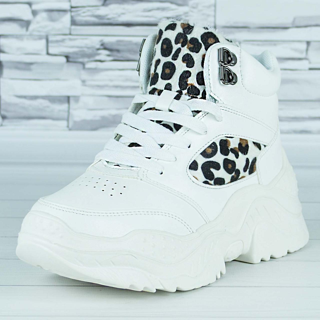 Кроссовки женские белые эко кожа демисезонные  принт леопард b-474