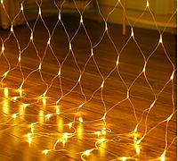 Новорічна світлодіодна гірлянда сітка 2х2м, 240LED білий теплий, фото 1