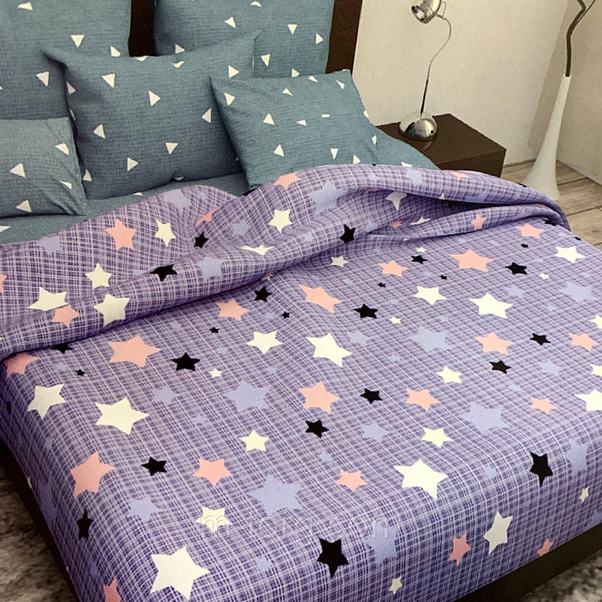 """""""звезды"""" комплект постельного белья двуспальный 180/210, нав-ки 70/70, ткань сатин, 100% состоит из хлопка"""