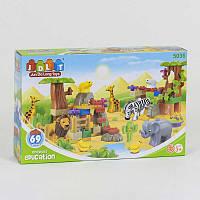 Конструктор JDLT 5036 (18/2) Зоопарк , 69 деталей, 5 фигурок, в коробке