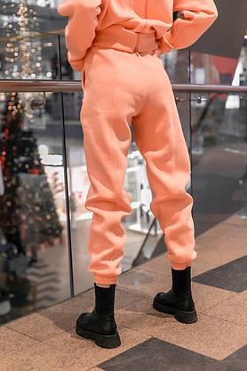 Штаны женские джогеры теплые на флисе зимние спортивные Basic Intruder розовые Oversize осенние весенние, фото 3