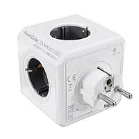 """Разветвитель 4 розетки с юсб портом Power Cube USB """"тройник"""" в розетку электрический с заземлением"""