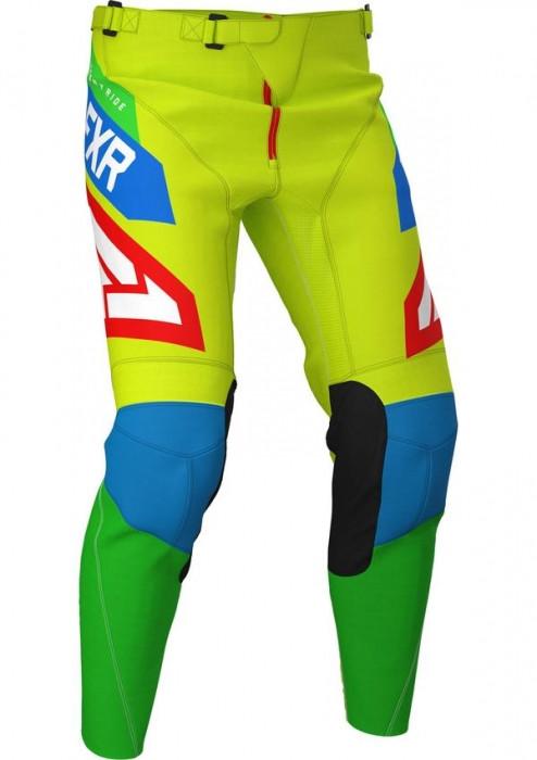 Мотоштаны FXR PODIUM AIR MX 20 HI VIS/BLUE/GREEN/RED 34