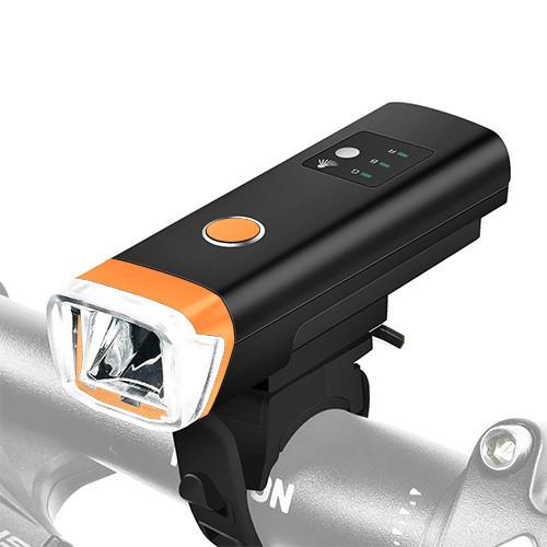 Фонарь велосипедный HJ-047-XPG, ЗУ micro USB, встроенный аккумулятор, датчик света, водостойкий