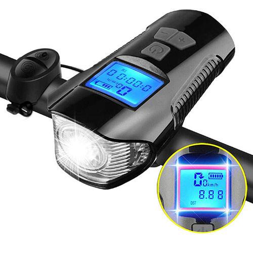 Велосипедный звонок + компьютер + велофара XA-585-T6+2LED, ЗУ micro USB, встр. аккум., выносная кноп
