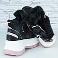 Кроссовки женские зимние теплые на меху черные с бело-розовой подошвой эко кожа b-476, фото 3