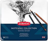 Набор художественный Derwent Sketching Collection для графики 24 предметов в металлическом пенале