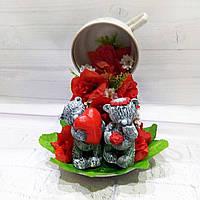 Сувенир Топиар парящая чашка влюбленные мишки Тедди Подарок на 14 февраля день святого Валентина Ручная работа