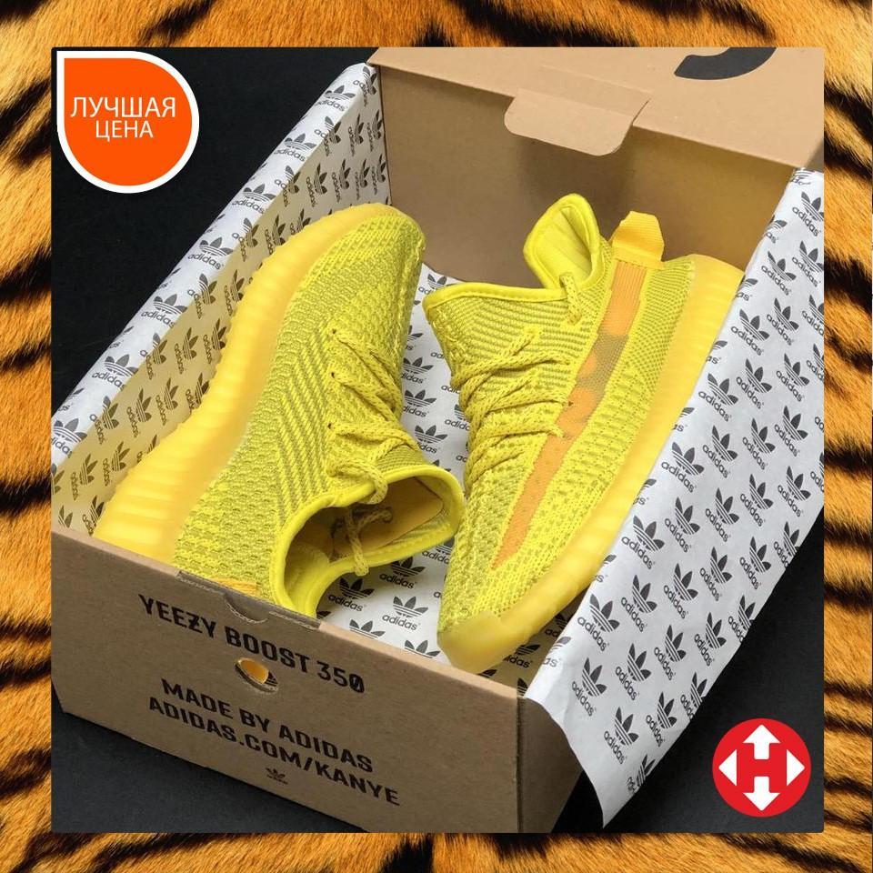 🔥 Кроссовки женские повседневные Adidas Yeezy 350 Yellow (адидас изи 350 желтые) рефлективные шнурки