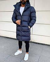 Куртка, пуховик Vish стильный мужской удлиненный на холодную зиму - Синий