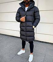 Куртка, пуховик Vish стильный мужской удлиненный на холодную зиму - Черная