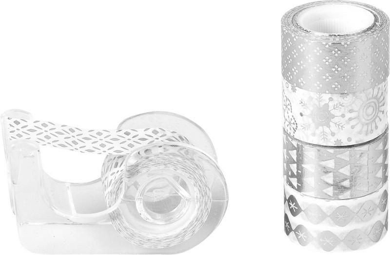 Набір паперових скотчев Christmas mini, Срібні відтінки з пластиковим ножем, 12 ммх3 м, 5 шт
