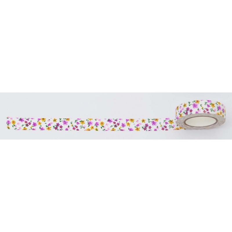Лента текстильная самоклеющаяся ''Разноцветные цветы'', 1,5смx5м