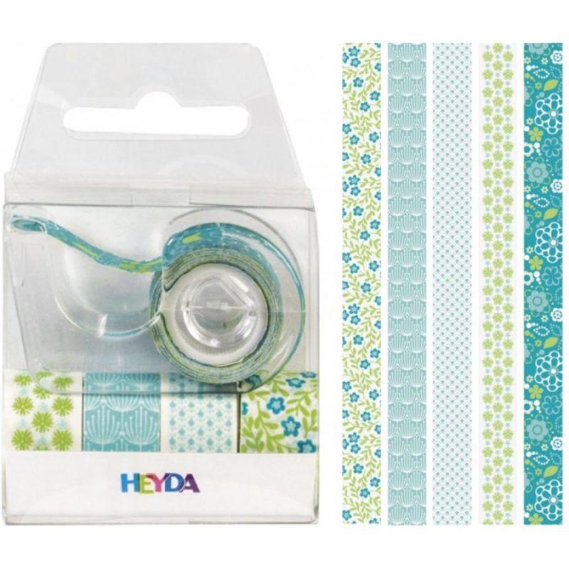 Набор бумажных скотчем Зеленые оттенки с пластиковым диспенсером 5 шт. Heyda