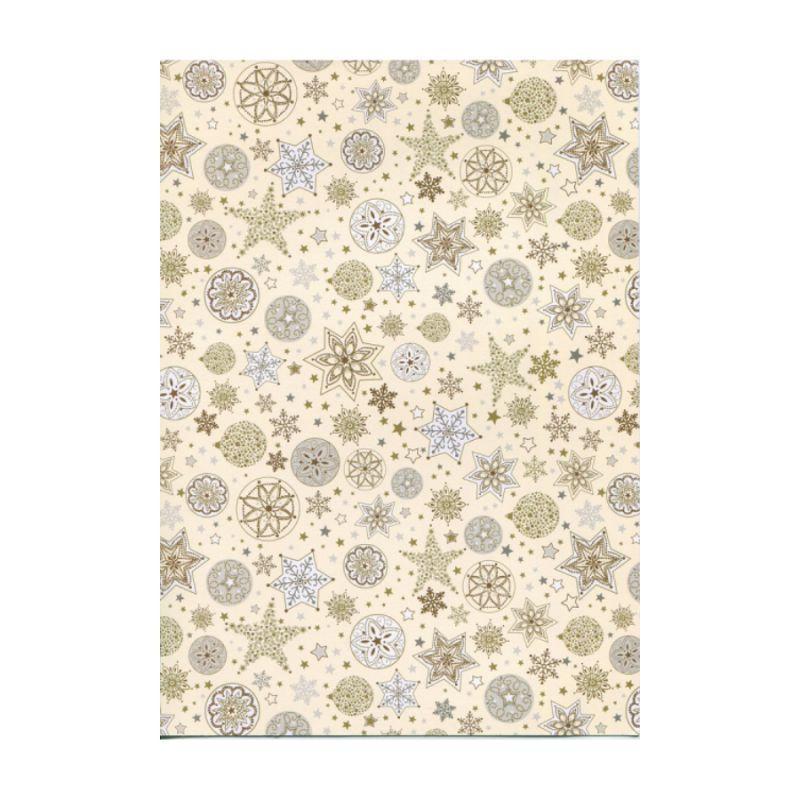 """Папір з малюнком """"Новорічні сніжинки"""", А4(21x29,7см), Золота, 300г/м2, Heyda"""