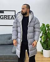 Куртка, пуховик Vish стильный мужской удлиненный на холодную зиму - Серая