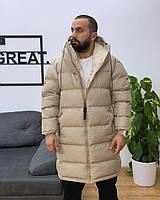 Куртка, пуховик Vish стильный мужской удлиненный на холодную зиму - Бежевый