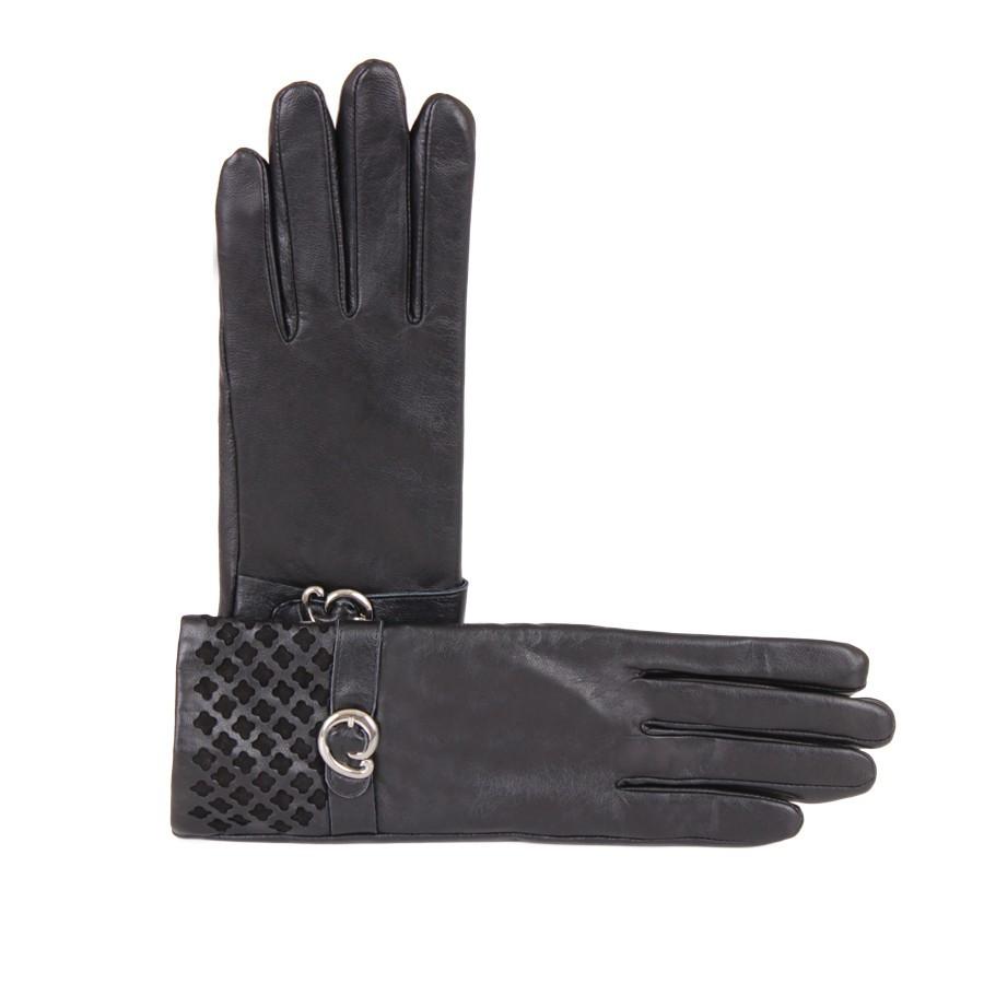 Перчатки кожаные женские de esse Черные