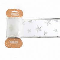 Лента декоративная Yes Fun с серебряной звездой 6смx2м белый (750327)