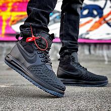 Мужские кроссовки Nike Lunar Force 1 Duckboot Navy/Black (Реплика ААА+)