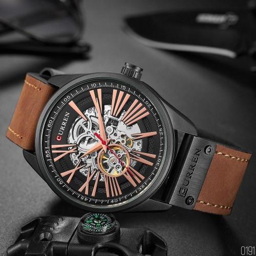 Не звичайний чоловічий годинник Curren 8299 Black-Gold-Brown наручний механічний з арабськими числами