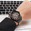 Не звичайний чоловічий годинник Curren 8299 Black-Gold-Brown наручний механічний з арабськими числами, фото 5