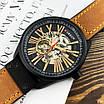 Не звичайний чоловічий годинник Curren 8299 Black-Gold-Brown наручний механічний з арабськими числами, фото 2