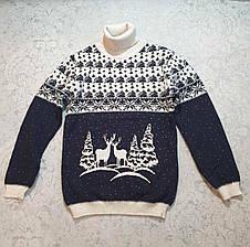 Вязаный свитер детский с оленями на мальчиков от 110 до 146 роста, фото 3