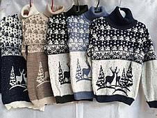 Белый свитер с оленями на мальчиков от 110 до 146 роста, фото 2