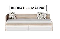 КРОВАТЬ С МАТРАСОМ 80х190 с ящиками Сфера 800 Сонома + Белый Односпальная