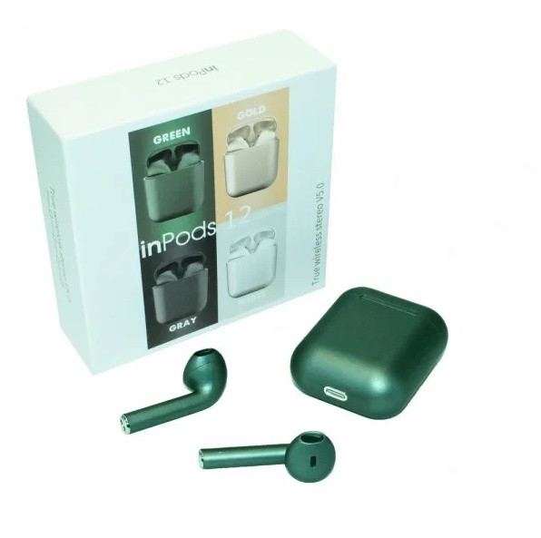 Беспроводные наушники BT inPods 12 Bluetooth 5.0 TWS блютуз гарнитура,Metallic green