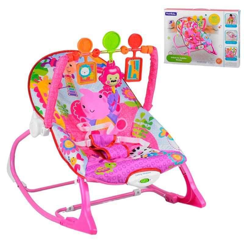 Дитячий шезлонг-гойдалка 2в1 8617 Рожевий
