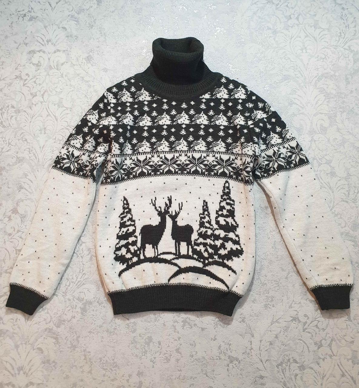 Детский свитер с оленями на мальчиков от 110 до 146 роста оливковый