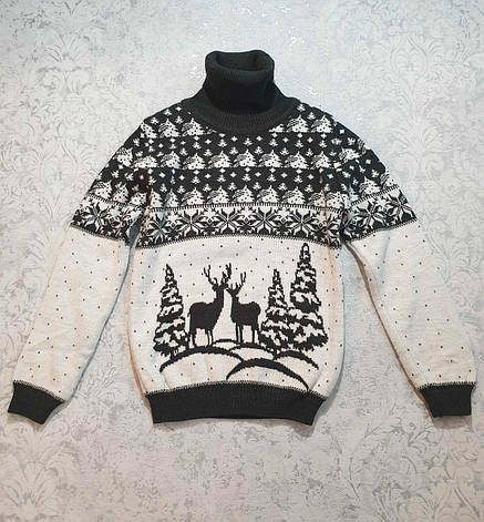 Детский свитер с оленями на мальчиков от 110 до 146 роста оливковый, фото 2